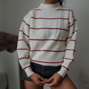 Vintage Cream Red Striped Grandpa Sweater Large